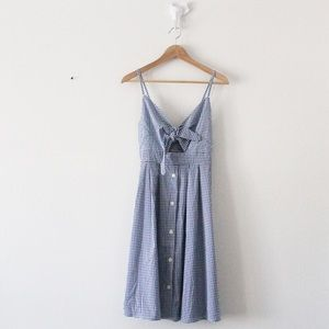 NWT Cupshe Gingham Tie and Button Front Dress